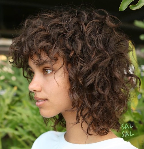 Cute Collarbone Shag For Naturally Curly Hair