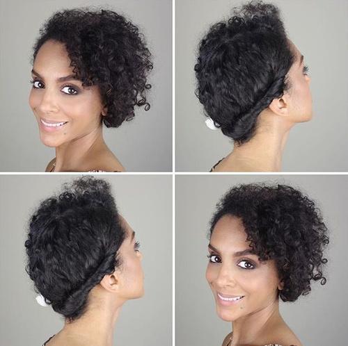 easy asymmetrical updo for natural hair