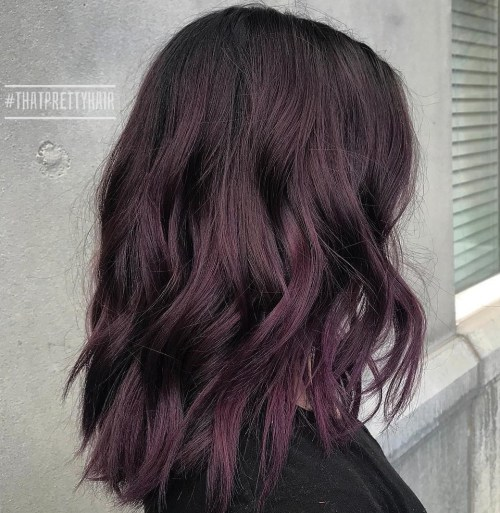 Subtle Black Purple Hair