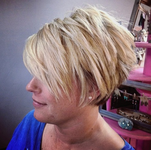 chopped blonde pixie bob