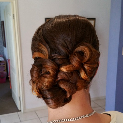 twisted side updo for prom