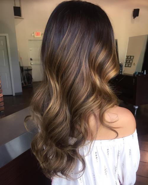 Caramel Balayage For Long Brunette Hair