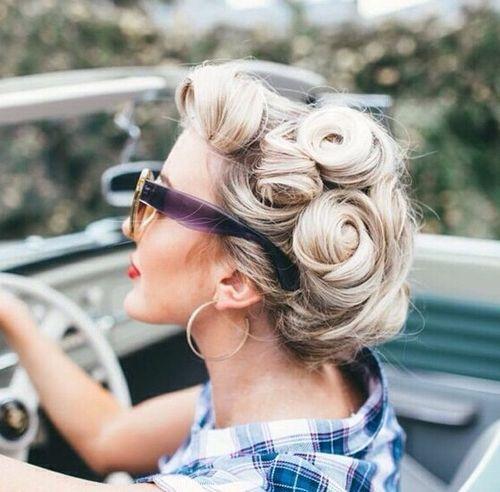 vintage rosettes blonde updo