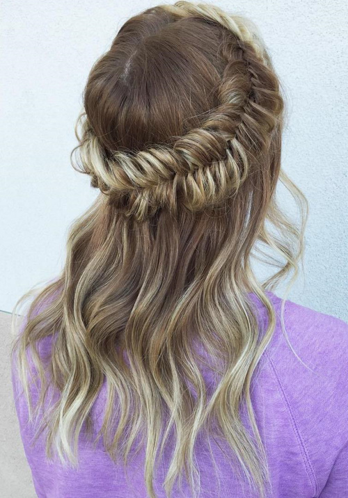 fishtail half updo for thin hair