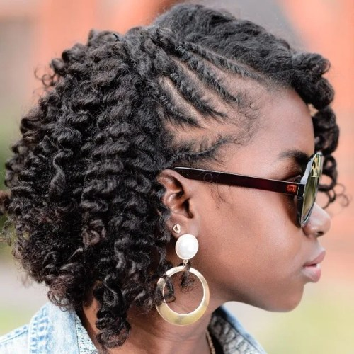 natural hairstyle with twists and curls