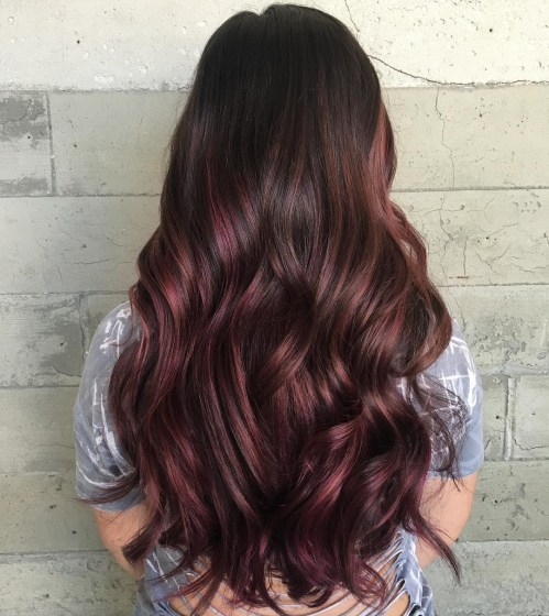 Long Delicate Burgundy Balayage Hair