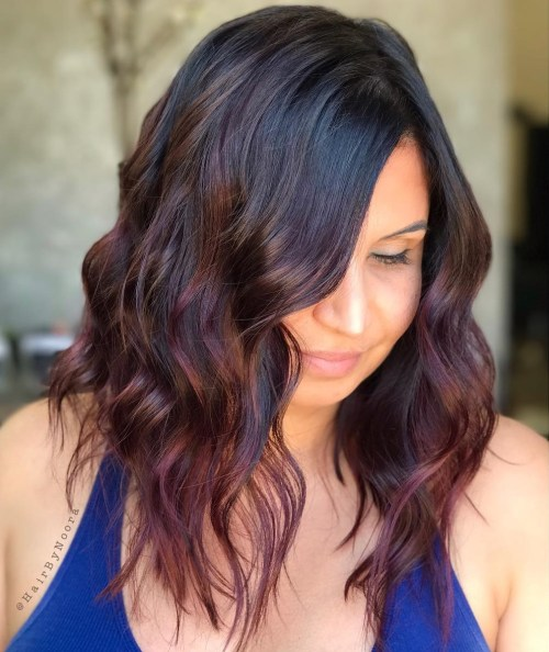 Muted Burgundy Balayage For Black Hair