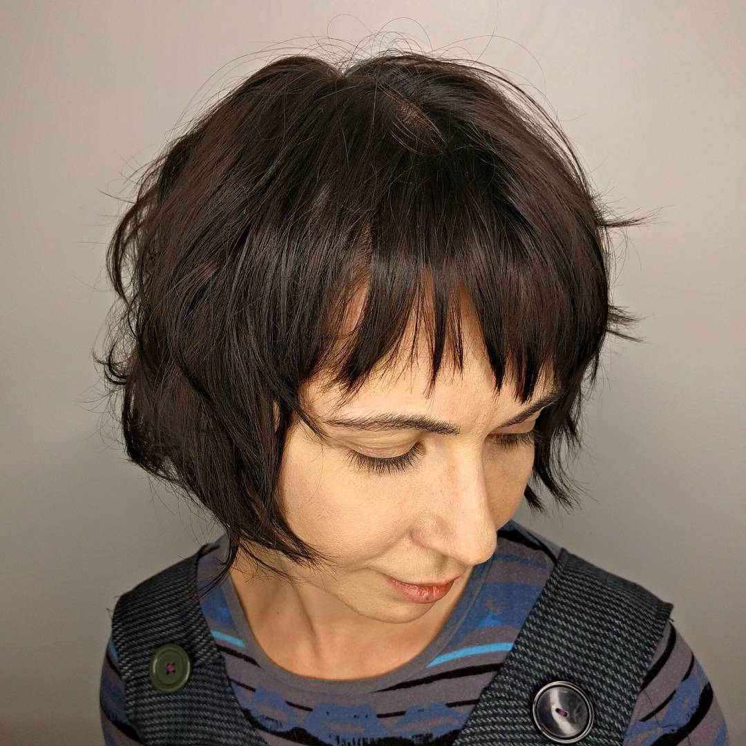 Short Messy Bob With Bangs