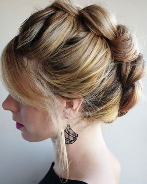 brown blonde mohawk updo