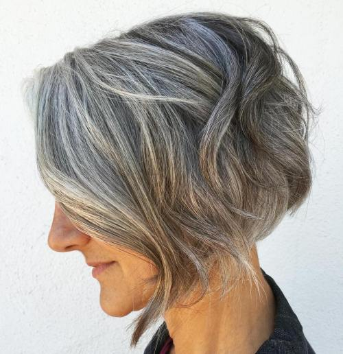 Salt-And-Pepper Angled Bob