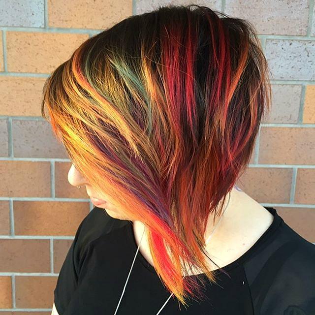 Short Bob With Rainbow Highlights