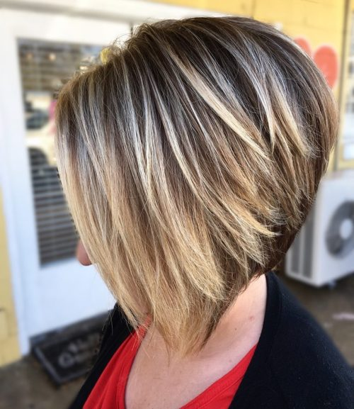 Stacked Blonde Balayage Bob