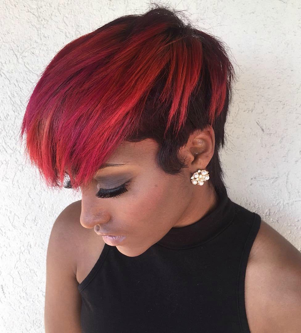 Short Half Red Half Black Hairstyle