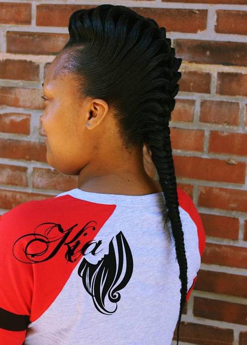 black braided Mohawk with fishtail braid