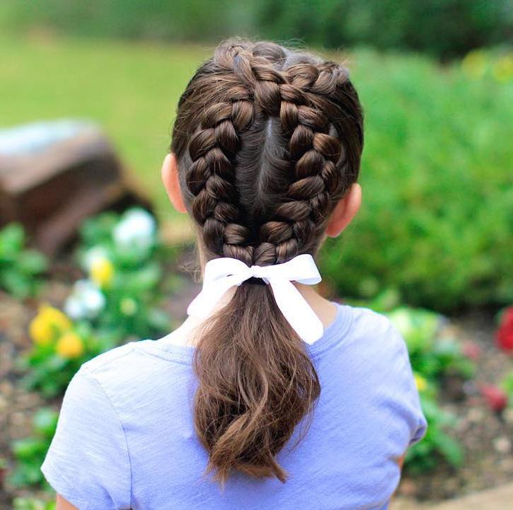 Braids And Pony For Little Girls