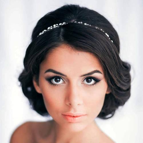 bridal brunette updo for square faces