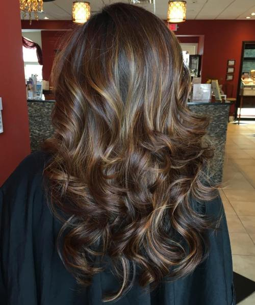 Long Brunette Hair With Golden Highlights