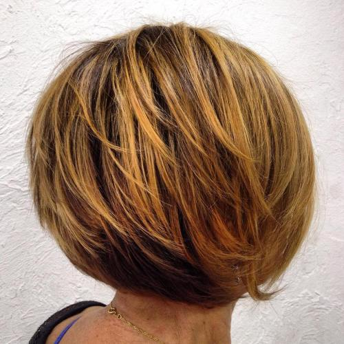 Rounded Honey Blonde Balayage Bob
