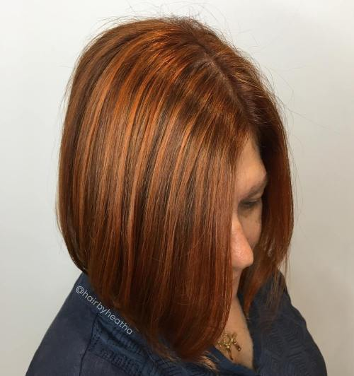 Sleek Copper Red Bob With Highlights