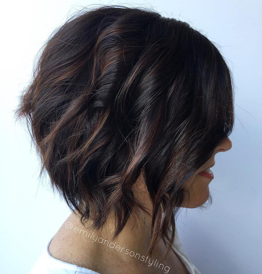 Wavy Black Bob With Chocolate Balayage
