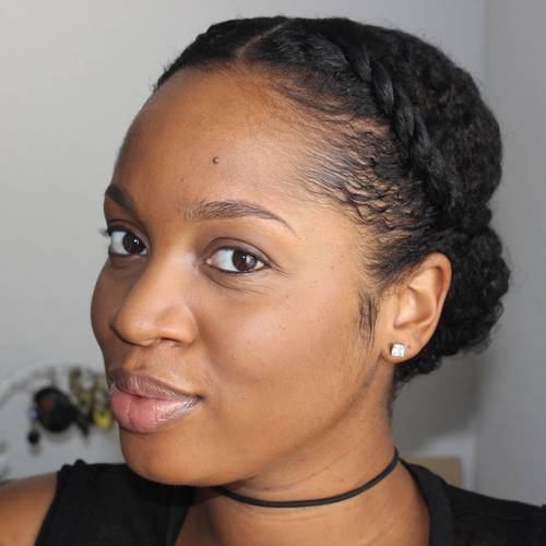 Centre-Parted Natural Updo With Twists