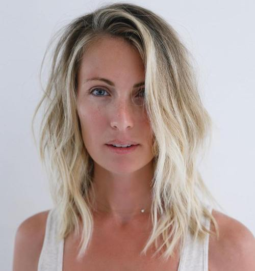 Medium Messy Blonde Balayage Hairstyle