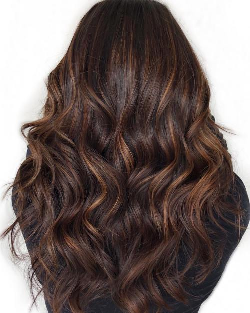 Subtle Caramel Highlights For Chocolate Hair