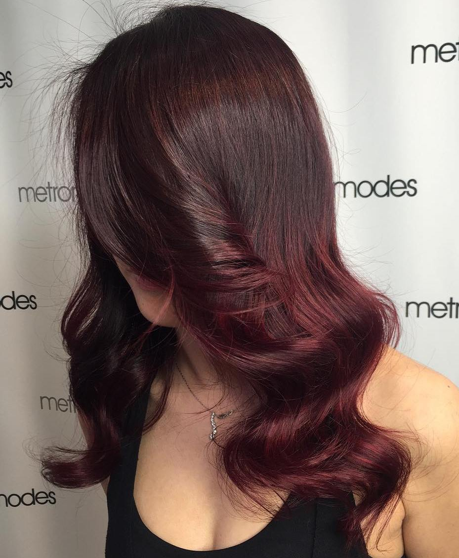 Chocolate Brown To Burgundy Ombre