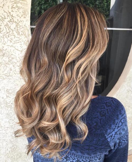 Curly Caramel Brown Balayage Hair