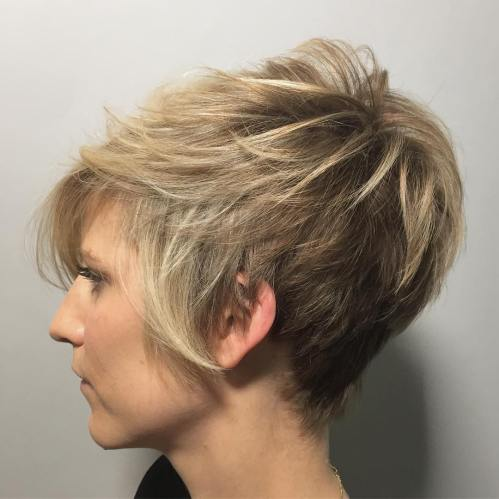 Layered Brown Blonde Pixie