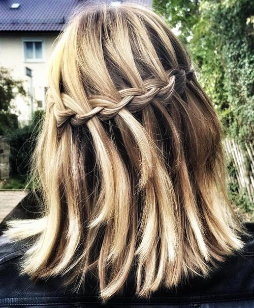 long bob with a waterfall braid