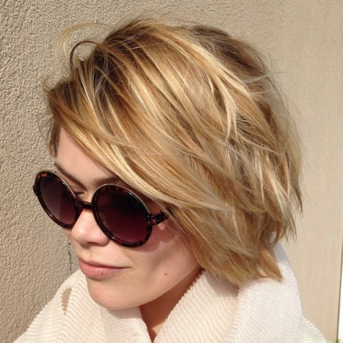Blonde Choppy Bob with Highlights