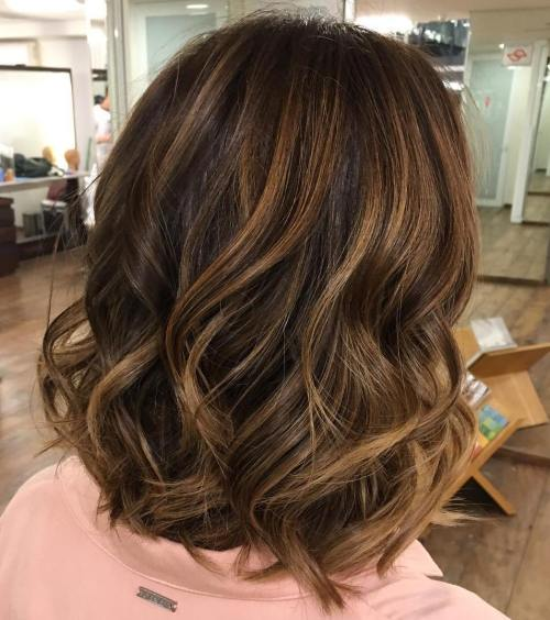 Brown Bob With Caramel Balayage