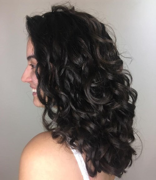 Dark Brown U-Cut Curly Hairstyle