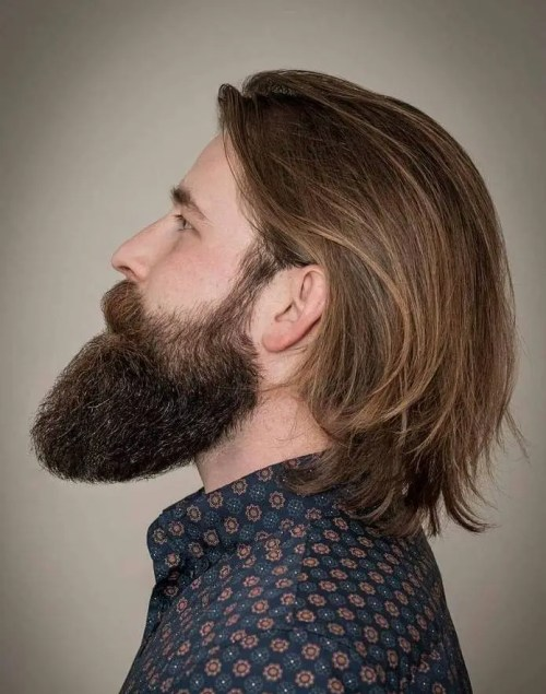 Long Men's Hairstyle With Beard