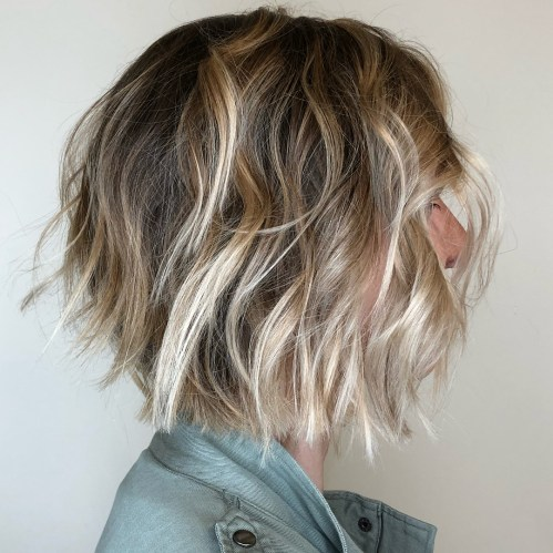 Messy Blonde Balayage Bob With Choppy Layers