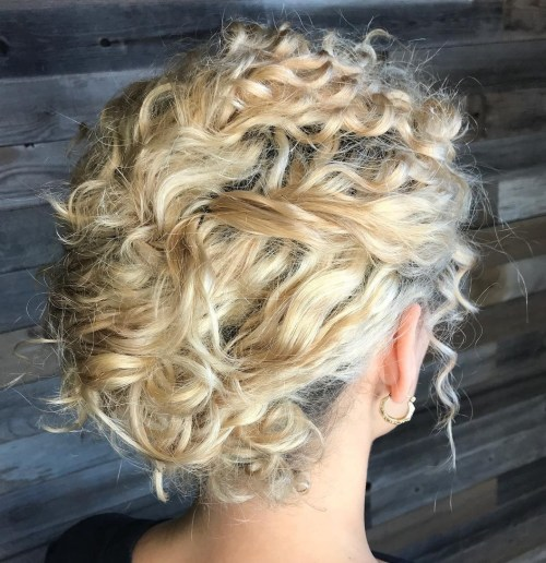 Messy Blonde Updo for Curly Hair