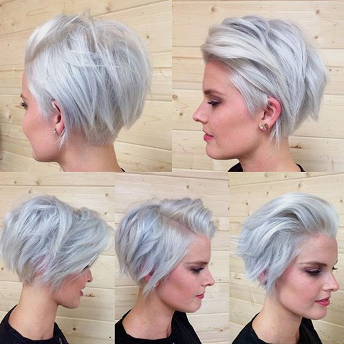 short silver gray blonde choppy bob