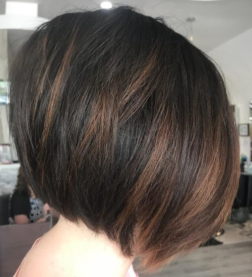 Angled Layered Black and Brown Bob