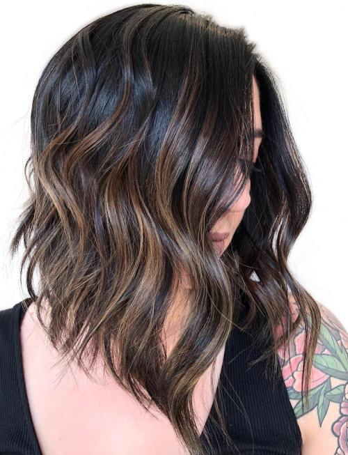 Angled Lob with Black to Brown Balayage