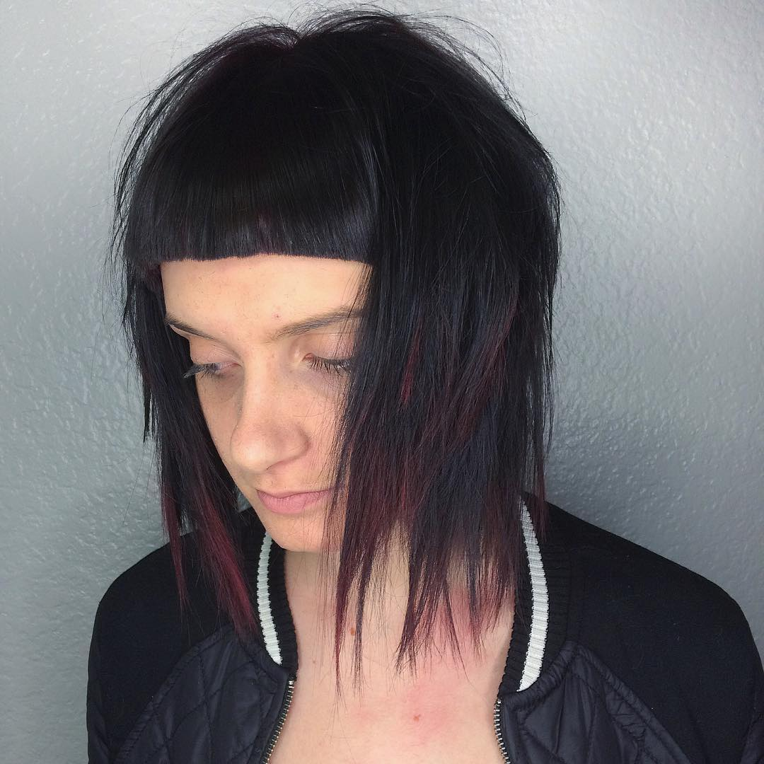 Layered Lob With Short Blunt Bangs