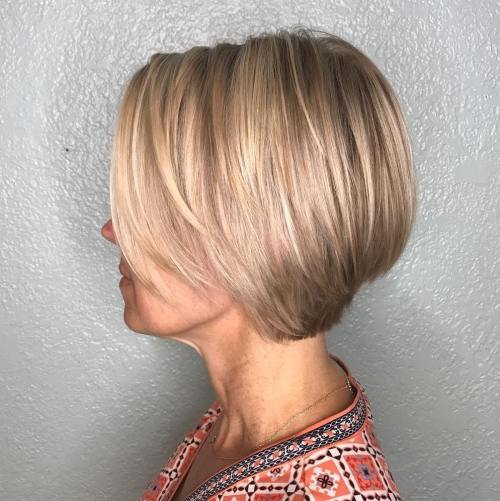 Stacked Blonde Bob For Fine Hair