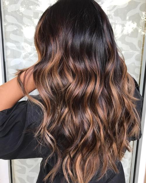 60 chocolate brown hair color ideas for brunettes very dark brown hair with caramel highlights pmusecretfo Choice Image