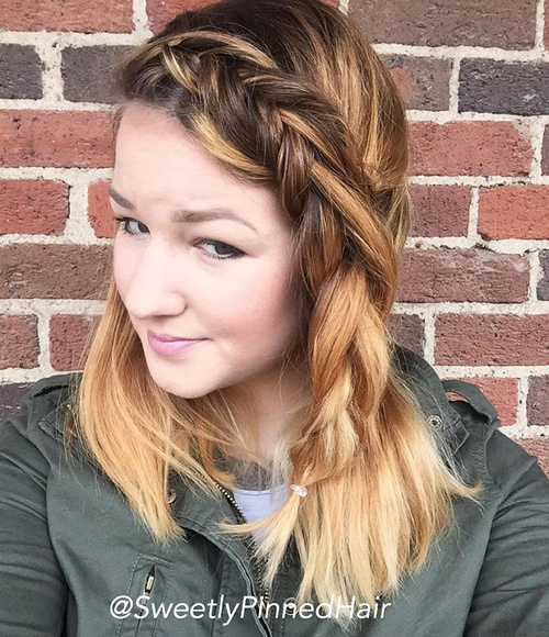 simple hairstyle with a side fishtail braid