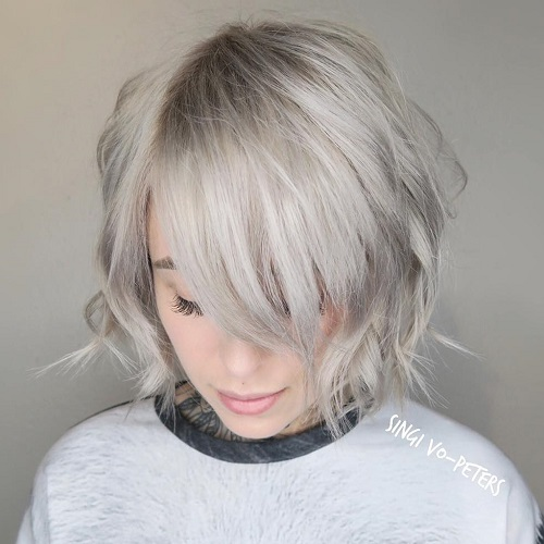 Ash Blonde Choppy Bob With Bangs