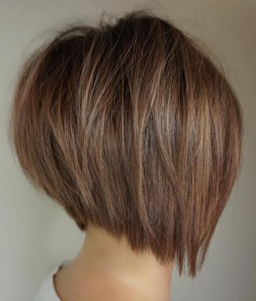 Inverted Brown Bob For Fine Hair