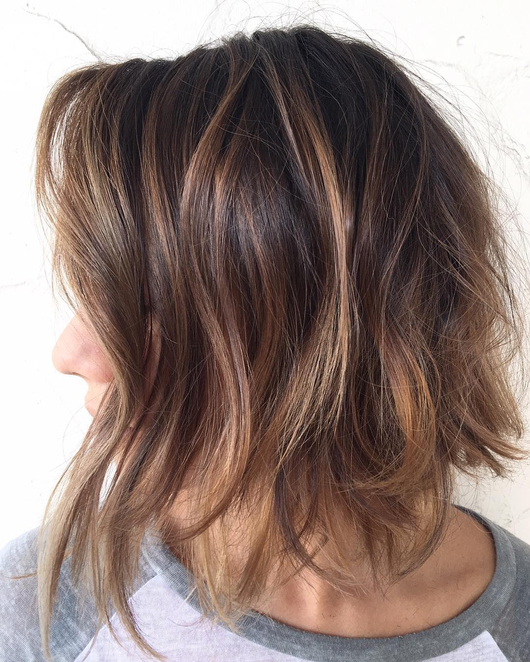 Messy Caramel Brown Bob