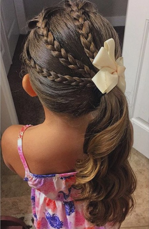 40 cool hairstyles for little girls on any occasion 1 fancy hairstyle with braids urmus Choice Image