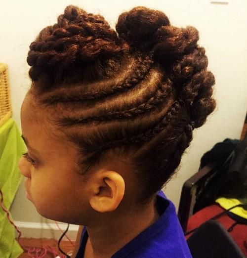 little black girl's braided Mohawk