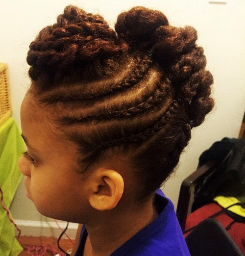 little black girl's braided Mohawk